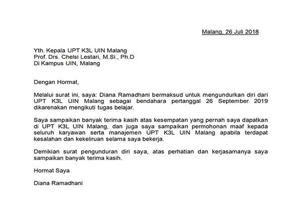 Contoh Surat Pengunduran Diri dari Jabatan di Lembaga Pendidikan
