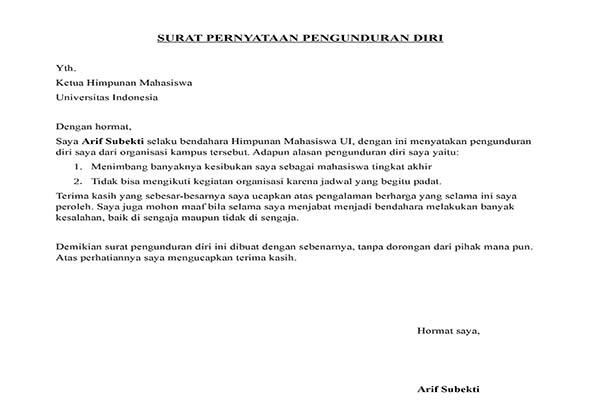 Contoh surat Pengunduran Diri Dari Organisasi Mahasiswa