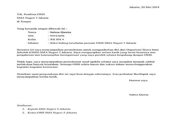 Contoh surat Pengunduran Diri Dari Organisasi OSIS