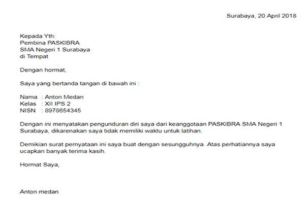 Contoh surat Pengunduran Diri Dari Organisasi sekolah