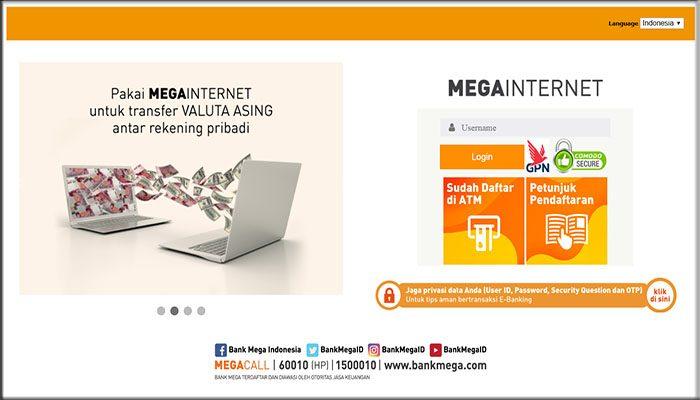 Aktivasi internet banking yang ada pada situs web bank mega
