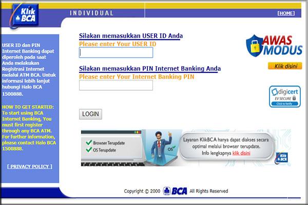 Cara penggunaan IB BCA / KlikBCA