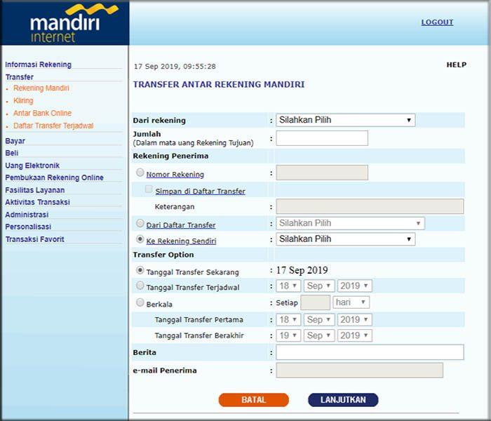 transfer internet banking mandiri