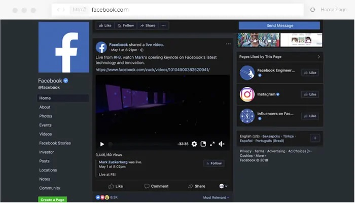 darkmode versi facebook